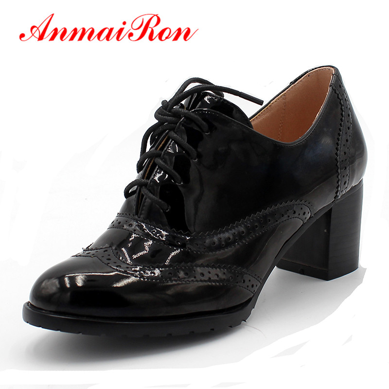 ANMAIRON Concise Solid Lace Up Women Shoes Spring Autumn Patent Round Toe Oxford Shoes Square Heel