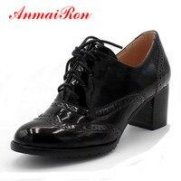 ANMAIRON Concise Solide Lace Up Femmes Chaussures Printemps Automne Brevet Bout rond Oxford Chaussures Talon Carré Noir Bleu Rouge Plat chaussures