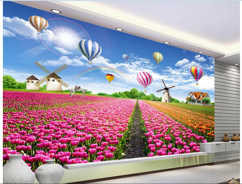 3d wallpaper custom photo non-woven mural The tulip flowers rural balloon decoration painting living room wallpaper for walls 3d 3d ceiling murals wallpaper custom photo non woven flowers dove in the sky painting 3d wall mural wallpaper for living room