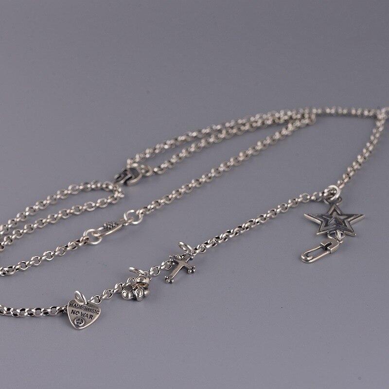 S925 argent restauration anciennes manières femme mode cercle anneau S crochet pendentif collier cinq étoiles broche porte-clés