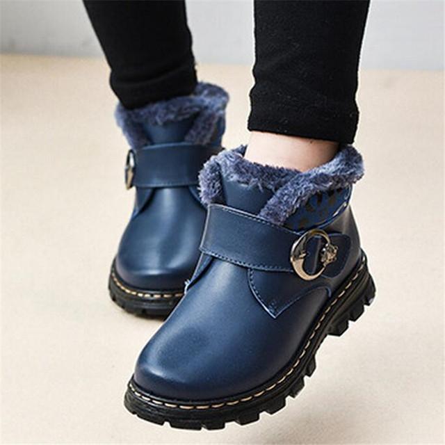 Nuevos 2016 Zapatos de Cuero Genuinos Para El Invierno Cálido Martin Botas de Nieve Botas de Los Niños Niños Niñas Zapatos Peluches Cálidos Niños 26-37