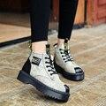 2016 Nova Moda Das Mulheres Martin Botas Do Punk de Couro PU Tornozelo inverno Lace Up Curto Pelúcia Botas de Salto Baixo Sapatos Casuais Maransar