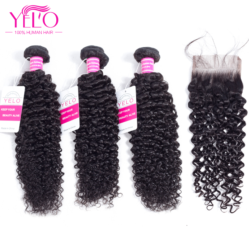Yelo brasilianska Kinky Curly Wave Human Hair Bundles med Closure 3 - Mänskligt hår (svart)