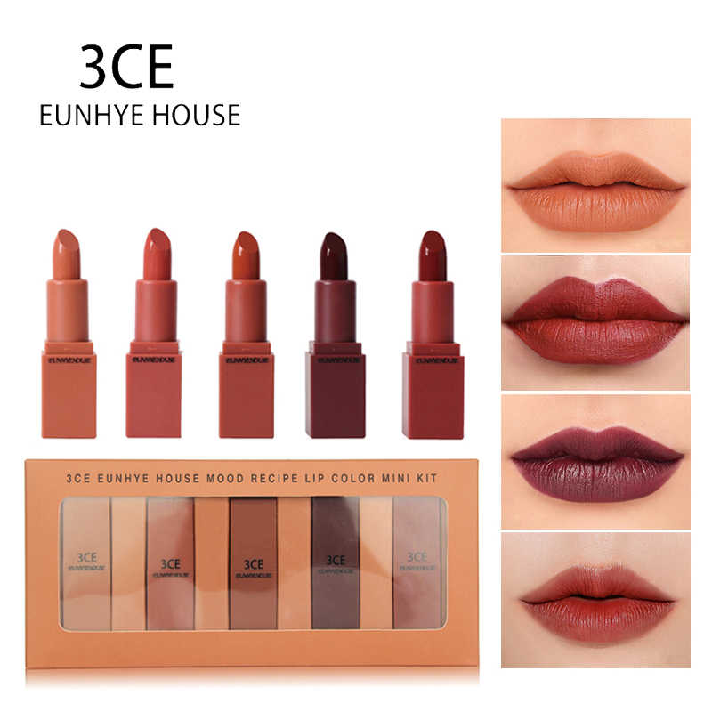 3CE EUNHYE HOUSE Lipstick Matte Lipstick Waterproof Lips Cosmetics Easy To Carry Matte Lipsticks 5 Colors In Set Hot Sale