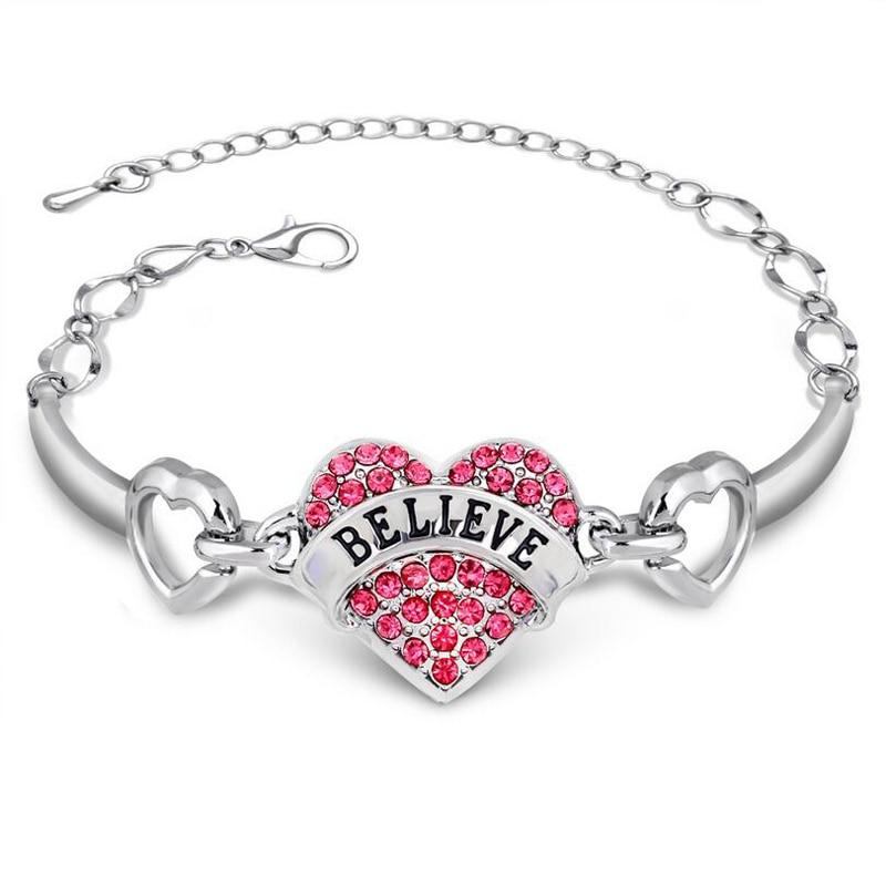 DIY Letters Believe Bracelets Girls Silver Crystal Rhinestone Heart ...