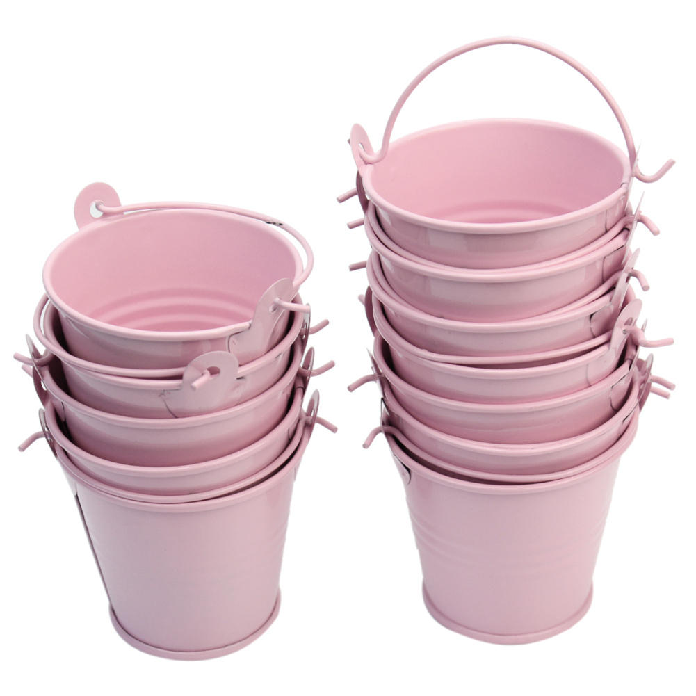 12Pcs Cute Pink Metal Bucket Chocolate Favors Tin Pails Keg Gift ...