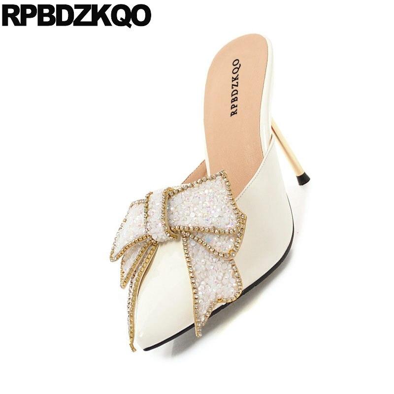 Crystal Peach 11 43 Shoes Big Size Bridal High Heels White Pointed Toe Pvc Thin  Women. sku  32870116951 4debe8558b7e