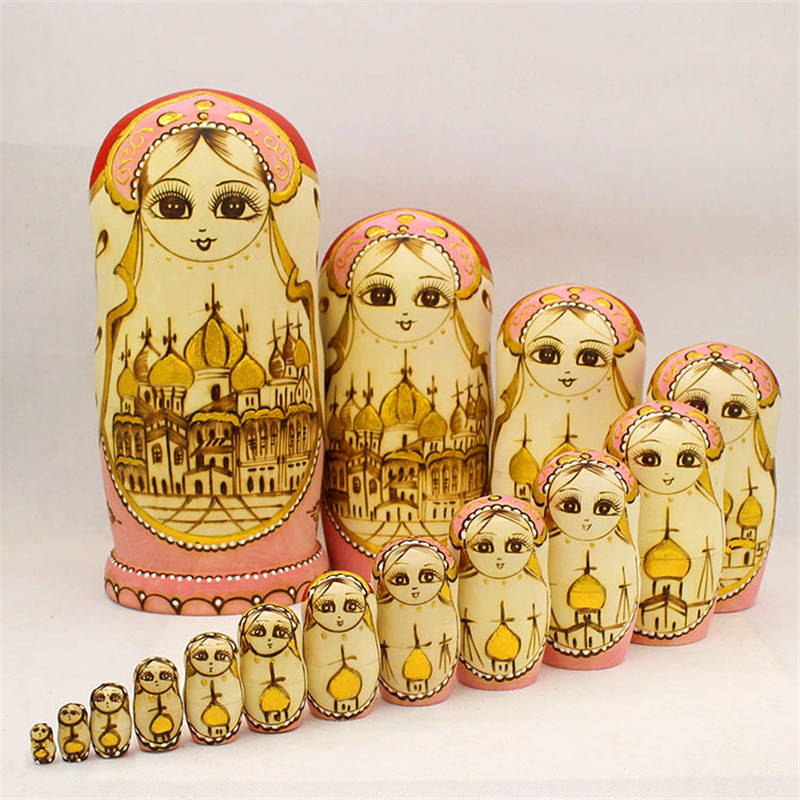 Top Grade 15 Layer Carved Matryoshka Doll Dry Basswood Russian Nest Doll Formaldehydeless Wooden Enducation Toy