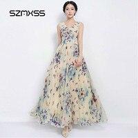 SZMXSS Sexy Women Summer Dress Maxi Long Chiffon Beach Dresses Casual Butterfly Printed Dress Slim Brand