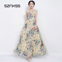 SZMXSS Sexy Women Summer Dress Maxi Long Chiffon Beach Dresses Casual Butterfly Printed Dress Slim Brand