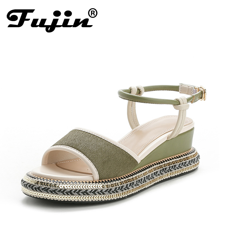 Fujin Women Sandals Pu Leather Sandals Lady Wedges Summer Shoes Female Peep Toe Platform Sandals Women Casual Shoes