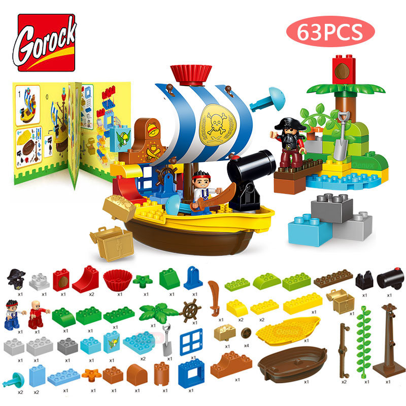 Gorock 63PCS/SET Classic Jake's Pirate Ship Model Large Particle Building Block Pirate Figures DIY Toys Compatible With Duplo new lepin 22001 pirate ship imperial warships model building kits block briks toys gift 1717pcs