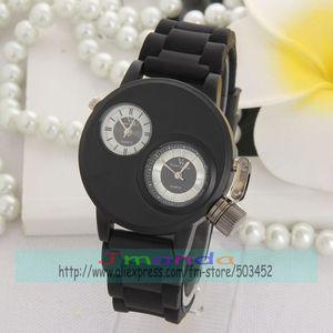Image 5 - 100 teile/los V6 Silber Stahl Uhr Mode Männer Business Silikon Strap Zwei Bewegung herren uhren top marke luxus