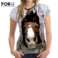 FORUDESIGNS 3D Horse Print T Shirt Women Elastic T Shirt Brand Feminine Shirts Animal Soft Bodybuilding