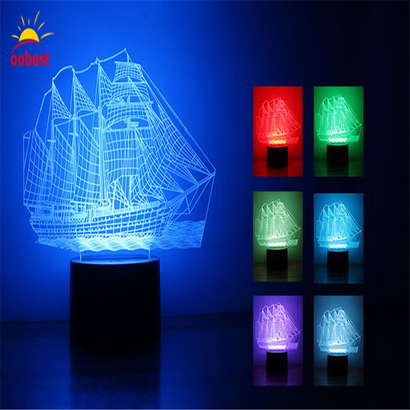2017 Lamparas Novelty 3D Sailing Boat Night Lights LED Table moon Lamp 7 Colors Changing USB Desk Light Kid Gift Toy Luminaria novelty led night light wireless remote control dimmable night lamp rgb kids children desk table lights usb 5v