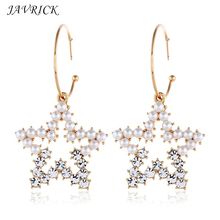 Charm Women Lady Earring Pentagram Rhinestone Artificial Pearl Earrings Fashion Temperament Star Pendant Exaggerated Ear Jewelry