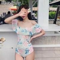 Bathing Suit Women Swimwear One Piece Large Size Swimsuit Suits Bath Solid 2019 New Korean Sexy Strapless Flounces Underwire