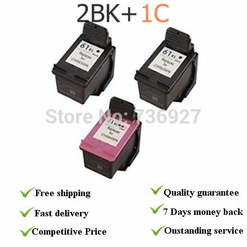 2*61XL BK+ 1C  remanufactured Ink Cartridges CH563W CH564W  for HP1000 (J110a)   for hp1050 (J410a)  for hp Deskjet 2000 (J210a) 2pk for hp 61xl remanufactured ink cartridge bk