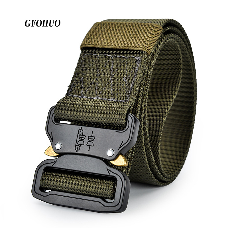 4.4cm Width men's canvas belt Metal insert buckle military nylon Training belt Army tactical belts for Men quality male strap