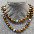 FREE SHIPPING 2016 new  100% natural freshwater pearl necklace and picture jasper stone  pure handworking made woman jewelry