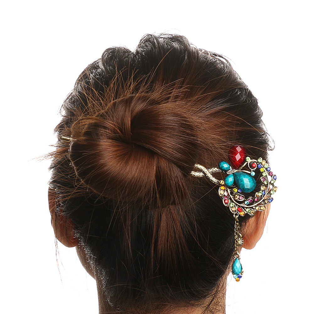 Hot Selling 2017 Retro Vintage Hairpins Fashion Peacock Butterfly Rhinestones Hairpin Hair Clips Headwear Barrettes for Women Gi retro vintage women ladies girls hair clips crystal butterfly bowknot hairpins hair accessories