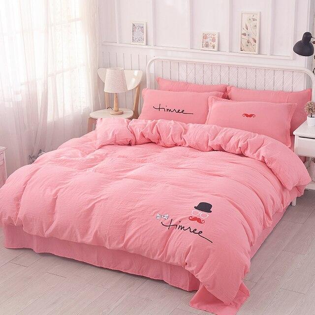 literie textiles de maison outlet rose mignon lapin motif 4 pcs couette drap de lit housse - Couette De Lit