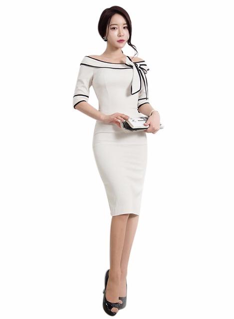 Women Bodycon Bow Dresses Sexy Off Shoulder Dress Vestidos 3 colors Sheath  Summer Dress Office Wear Work Outfits white Female 3e4e2d5933