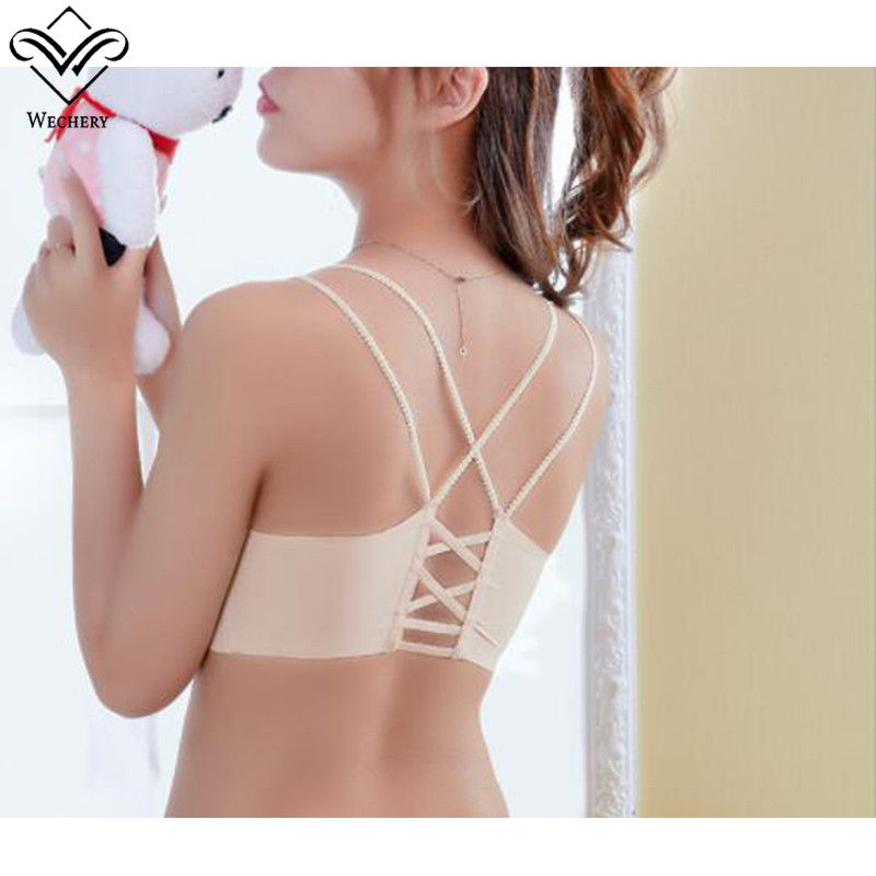 Wechery New One Pieces Push Up Bra Sexy Seamless Wire Free Y-line Straps Bra Backless Vest brassiere Breathable Shaper Bras Tops
