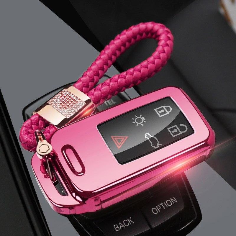 Защитный чехол ключа автомобиля чехол для VOLVO S60L S80L XC60 S60 V60 s90 cx60 xc90 vx90 стайлинга автомобилей смарт-ключ оболочки крышки брелок держатель - Название цвета: pink chain set