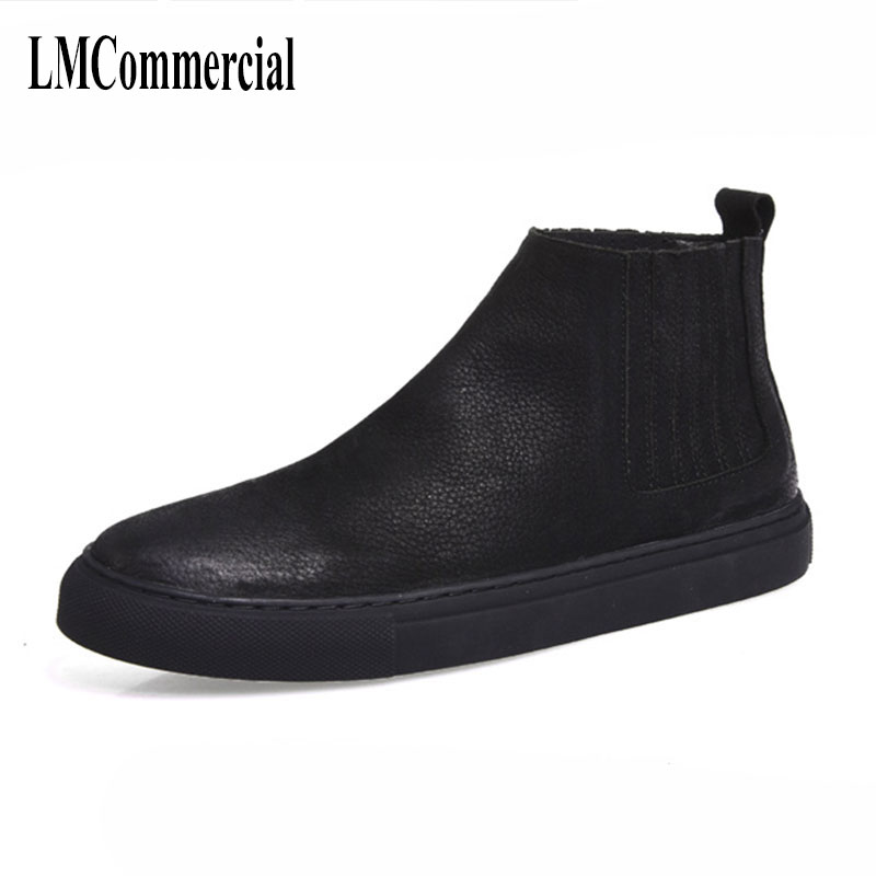 Martin boots with male cotton shoes and leather shoes trend of Korean high shoes retro British short boots men cowhide cashmere men british thick boots retro martin shoes trend men s short boots autumn and winter korean men s boots leather frock shoes