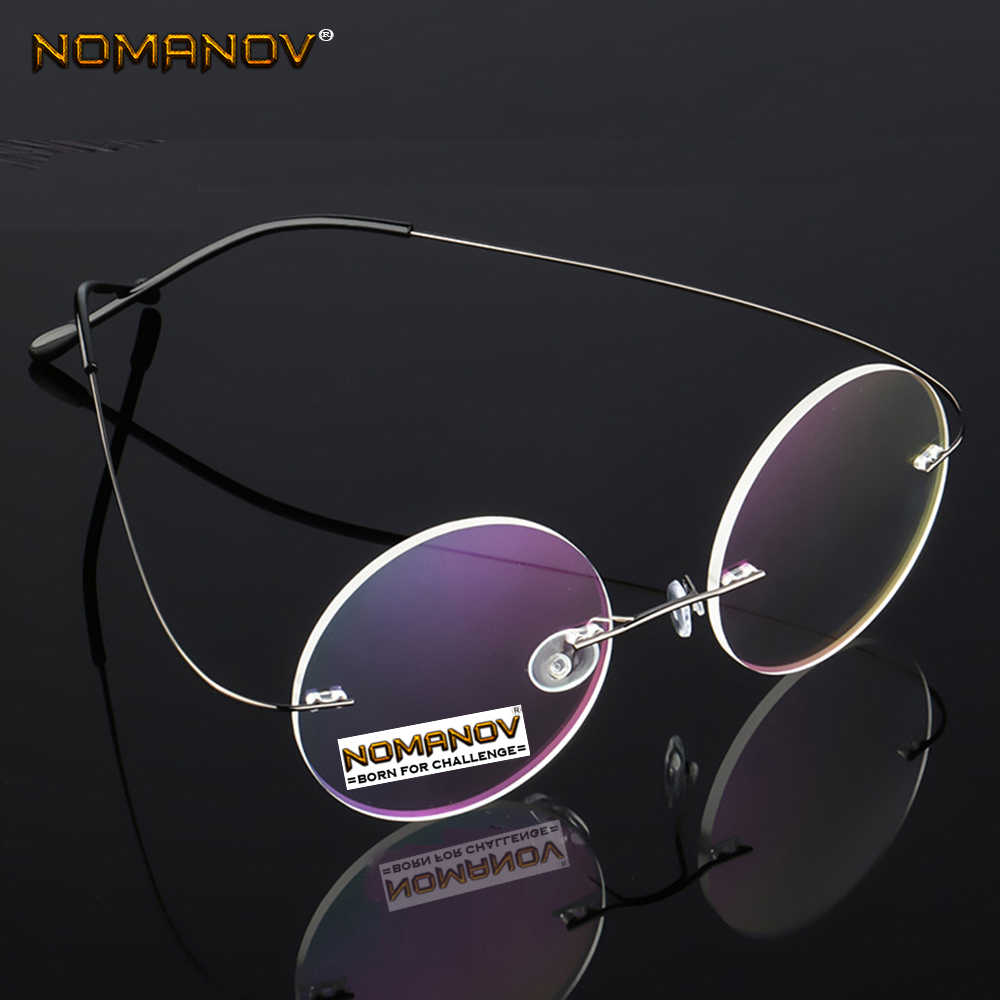 Ultra-light Rimless Round black silver frame Classic TREND Spectacles with Optical lenses or Photochromic gray / brown Lenses