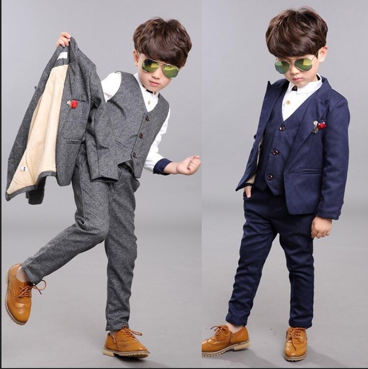 Nouveauté mode garçons enfants 3 pièces blazers costume de garçon pour les mariages de bal formelle printemps automne gris/bleu robe mariage garçon costumes