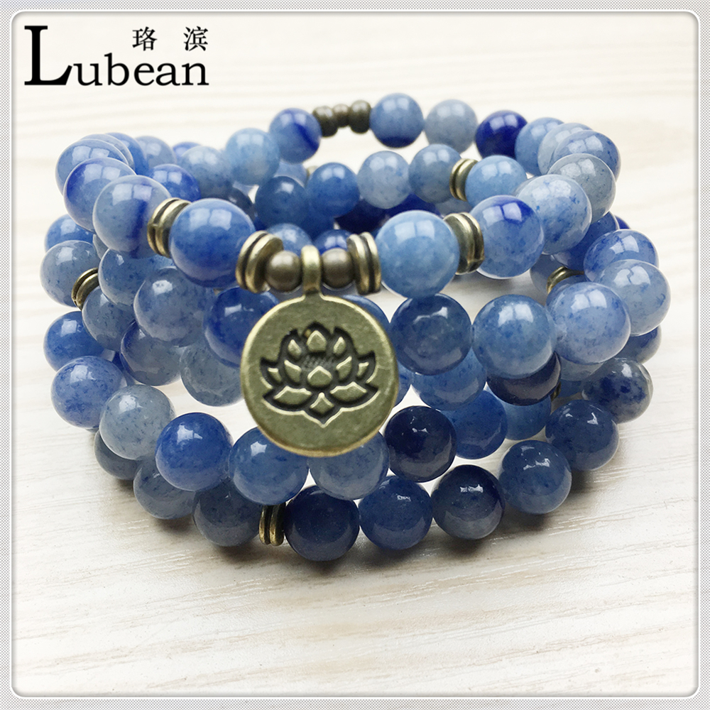 Blooming lotus designs women s - Lubean New Arrival Design Women S Mala Beads Bracelet Vintage Blue Aventurine Quartz Yogi Bracelet