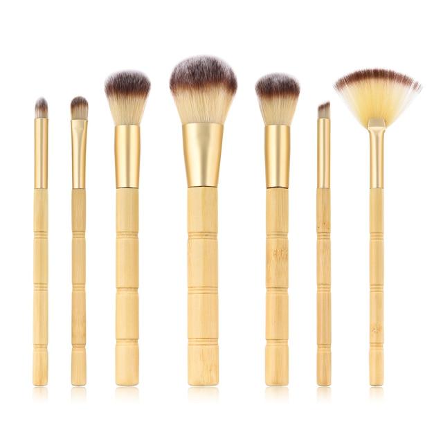 BBL 7pcs Bamboo Makeup Brushes Set Portable Face Powder Highlighter Blush Concealer Tapered Blending Eyeshadow Eyebrow Brush Kit 1