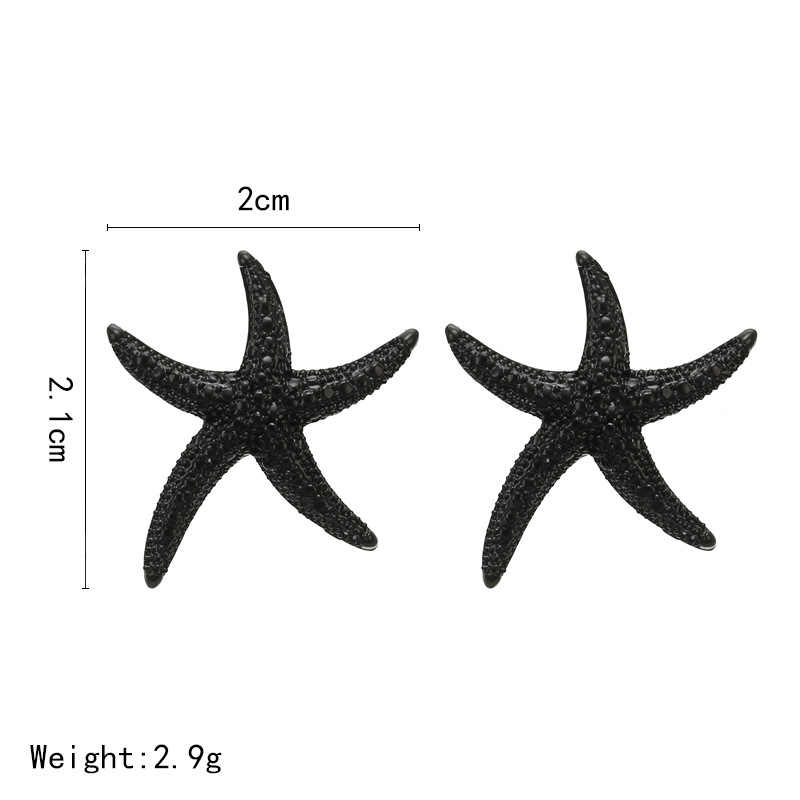 SexeMara Starfish Earrings Silver/Black Color Alloy Stud Earring Fashion Jewelry For Women Party Accessories Gift