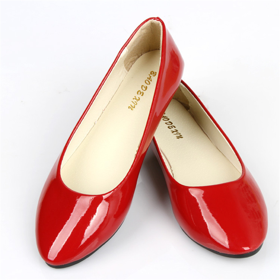 15% OFF Korean womens singles flat shoes spring automn women pointed candy-colored PU flats large size