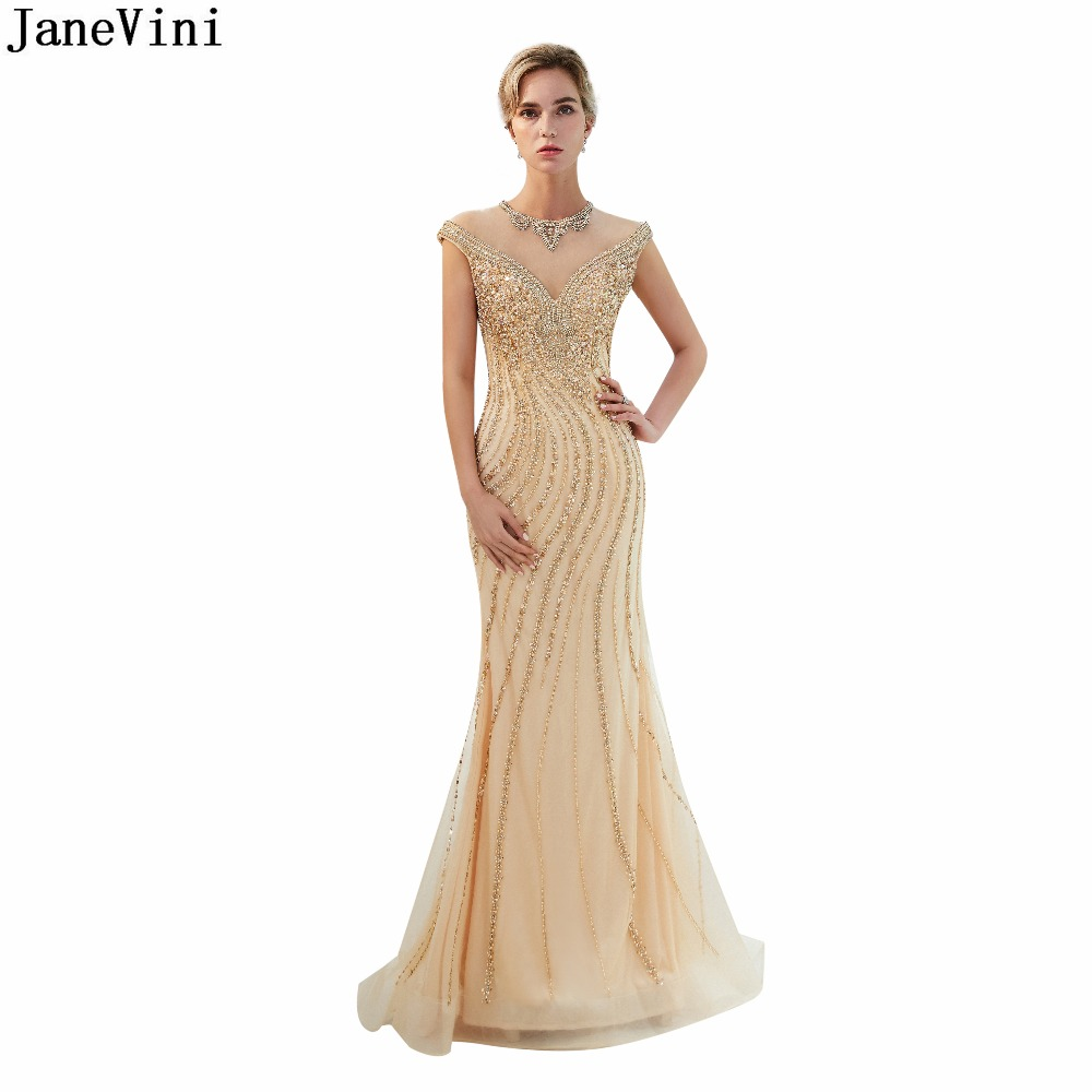 JaneVini Luxury Full Beading Dubai Long   Bridesmaid     Dresses   O Neck Cap Sleeves Sexy Illusion Mermaid Bling Gold Tulle Prom Gowns