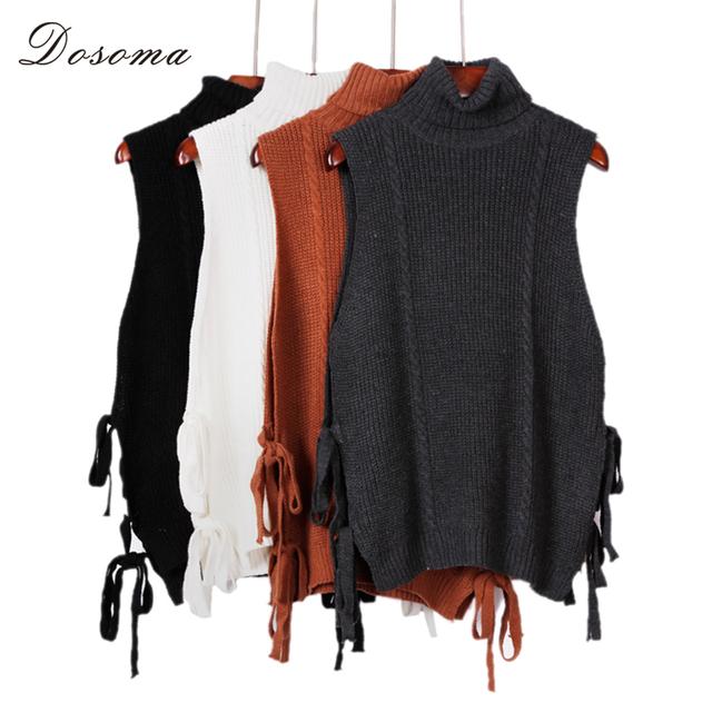 5 colores sin mangas de cuello alto de punto chaleco de las señoras 2017 estilo coreano de la manera cordón de cuello alto de punto suéter sin mangas del chaleco de las mujeres