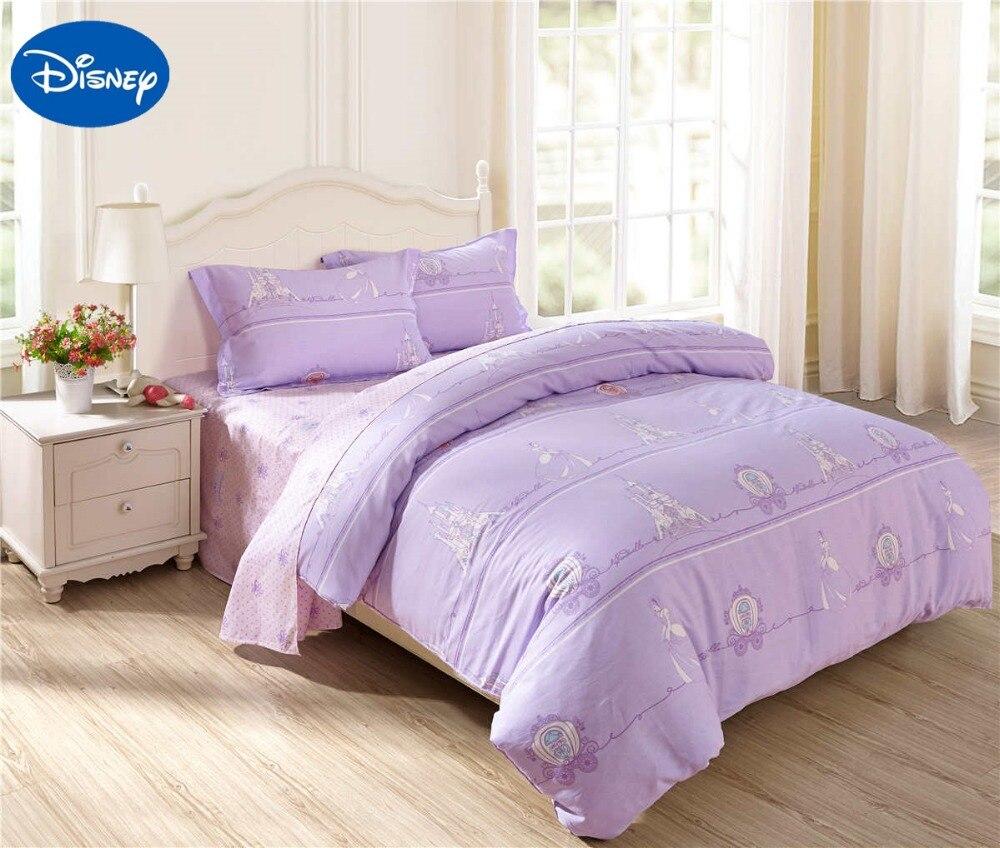 Princess Comforters Bedding Set Cotton Bedclothes Cartoon Disney Bed Linen Girl Baby Home Decor Twin Full