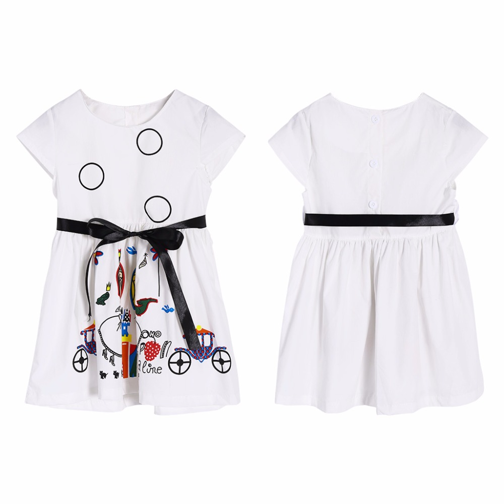 KLV Girls Cartoon Princess Dress 2T-7T Toddler Baby Scrawl Summer Stylish Cotton Kid Cloth