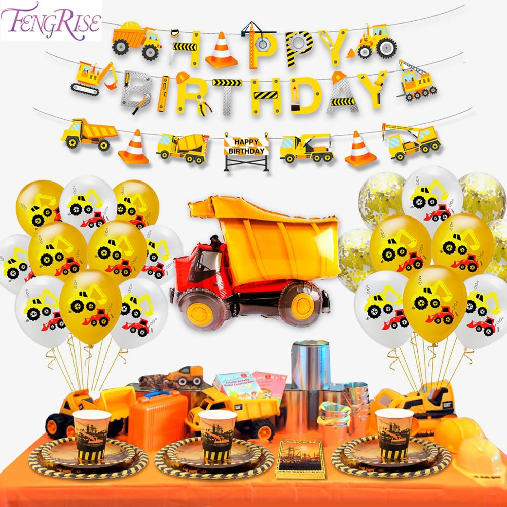 Construction Birthday Balloons Cars Construction Party Decorations Balloon Birthday Tractor Ballon Helium Ballons Decor Birthday-in Ballons & Accessories from Home & Garden