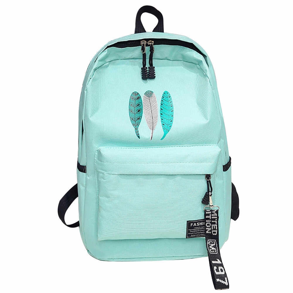4886f6be47ad OCARDIAN Backpack Trendy Female Feather Print Canvas Backpacks Teenage  Girls Softback School Bags Women Casual Rucksack