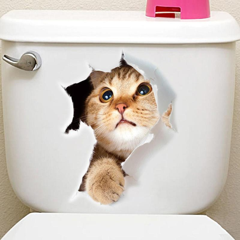 Cat Vivid 3D Toilet Stickers On The Toilet Seat Cute Cartoon PVC Wall Sticker Bathroom Refrigerator Door Decor Stickers Decals