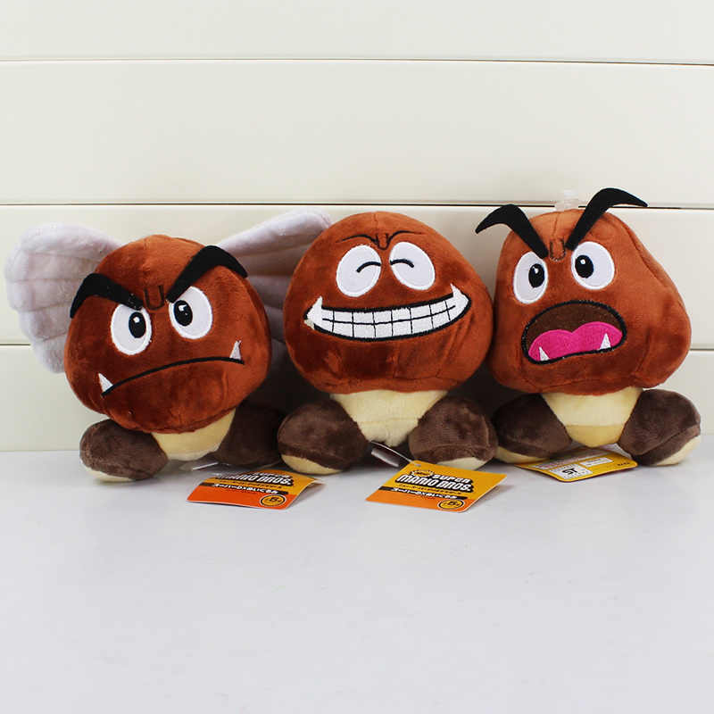 72afc67428d ... 12cm Super Mario Bros Goomba Plush Toy Smile Amazed With Wings Hats  Goomba Stuffed Dolls ...