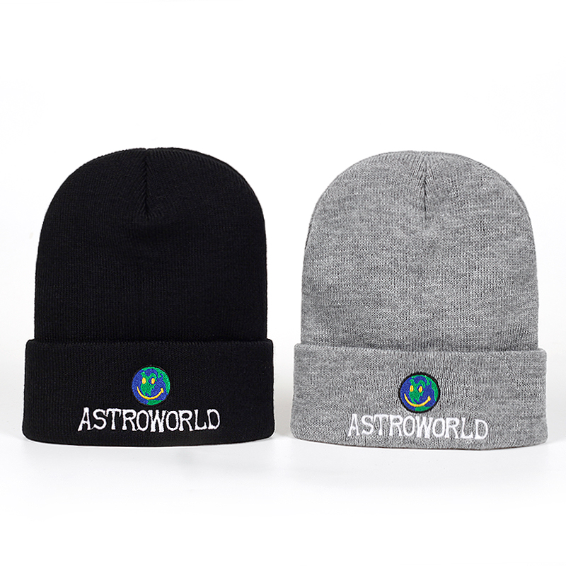 443413e894c 2018 New Travi  Scott Beanie ASTROWORLD Knit Cap Embroidery ...