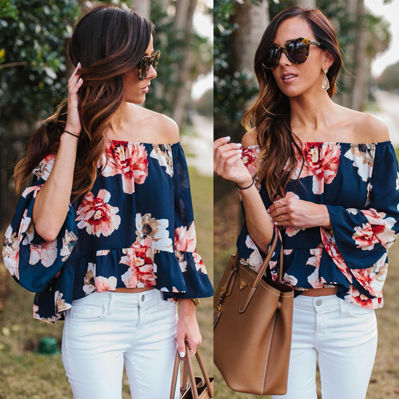 2b13c30d183a75 Fashion New Women Lady Clothes Yops Off Shoulder Casual Blouse Flower  Clothing Summer Tops Beach S-XL