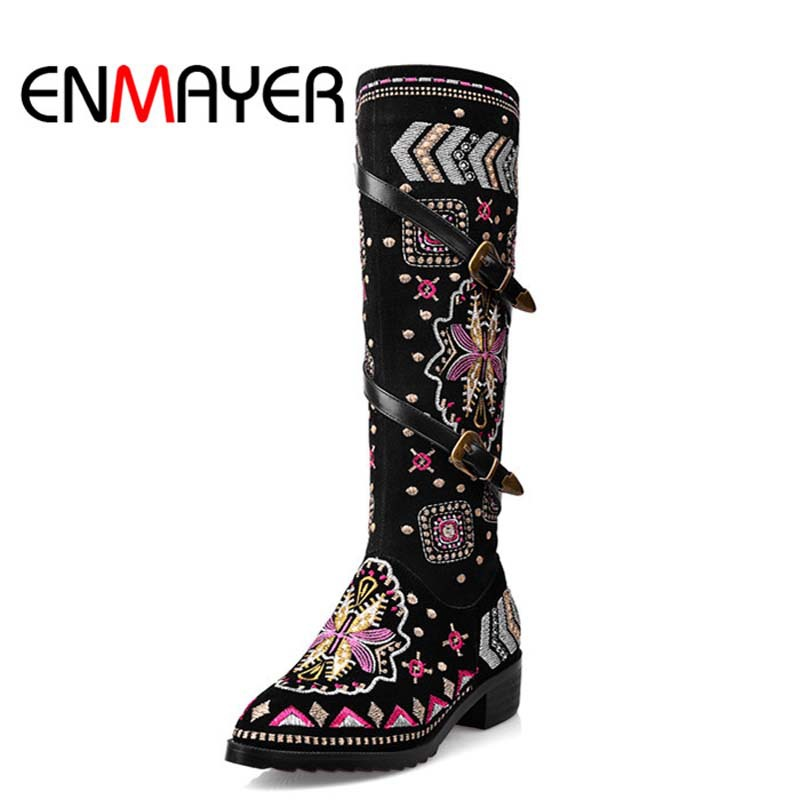 ENMAYER New Fashion Shoes Boots for Women Genuine Leather Motorcycle Boots Round Toe Casual Autumn Winter Women Knee High Boots enmayer high heels charms shoes woman classic black shoes round toe platform zippers knee high boots for women motorcycle boots