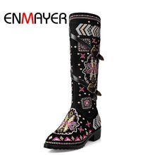 ENMAYER New Fashion Shoes Boots for Women Genuine Leather Motorcycle Round Toe Casual Autumn Winter Knee High