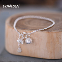 22cm+2cm High quality Lotus bells female Korean Anklet 925 silver retro Japan simple girls Korea female student summer jewelry