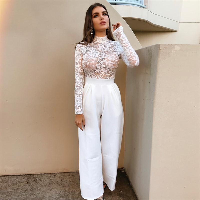 063497cd3d8 BOOFEENAA White Lace Embroidery Sexy Long Sleeve Bodysuit Women See Through  Bodysuits Leopard Top Nightclub Body Suit C66 AZ56-in Bodysuits from  Women's ...
